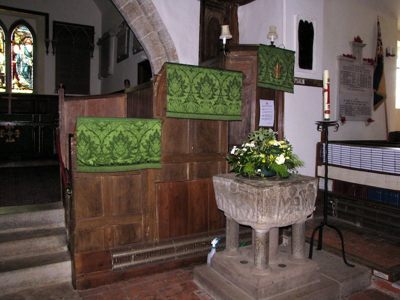 All Saints Font and Pulpit-mc