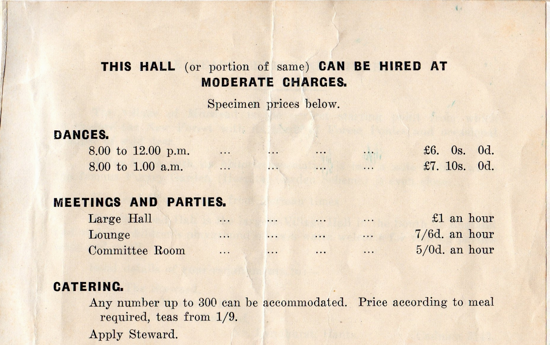 Old Hall Leaflet 2